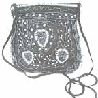 Embroidered Black and White Bead Bag C