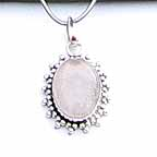 Pink Stone Pendant with Silver Necklace Chain NEA