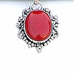 Red Stone Pendant with Silver Necklaces Chain NEB