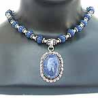 Blue Stone Pendant with Beaded Necklace NECA