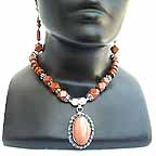 Pink Oval Pendant with Handmade Beaded Necklace n earings NECD