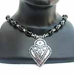 Belly Dancers Silver Pendant on Gemstone Bead Necklace NECE