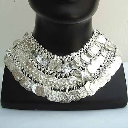 Silver Necklace Belly Dancer Coin Necklace NECKB