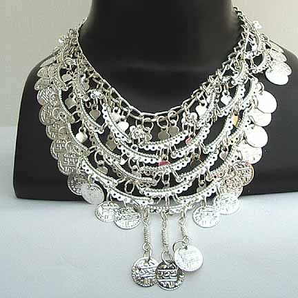 Belly Dancer Silver Coin Necklace NECKD