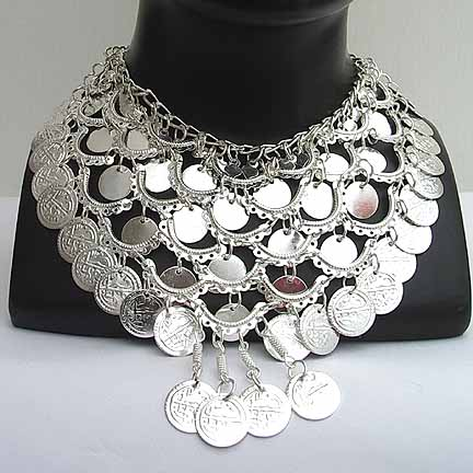 Belly Dance Silver Coin Necklace NECKE