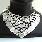 Belly Dancing Silver Coin Necklace NECKF