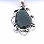 Green Stone Pendant with Silver Chain NEC