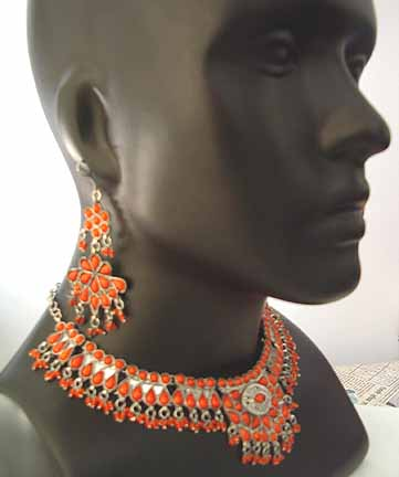 Wedding Necklace with Earrings set Red Beads AD