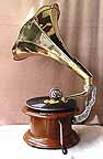 Round Handcranked 78 rpm Gramophone with Brass Horn