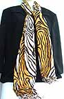 Tiger Striped Animal Print Faux Pashmina Shawl 28 x80  SCQ