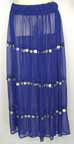 Belly Dance Skirt Blue Chiffon with Coins