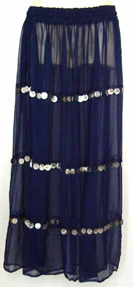 Navy Blue Sheer Belly Dance Chiffon Skirt with Coins