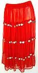 Red Chiffon Skirt with Coins