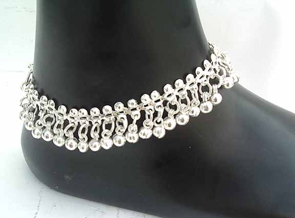 Silver Beaded Anklets D