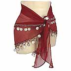 Your Own Belly Dance Hip Scarves Wine 2 Line Coins