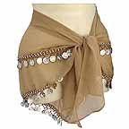 Hip Scarf Stole Brown with 2 Rows Beads and Coins