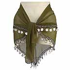 Hip Scarf Bellydance Moss Green with 2 Rows Beads and Coins