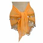 Bellydancer Hip Scarf Mustard 2 Line with Beads and Coins
