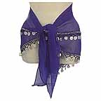 Bellydancing Scarf Blue 2 Rows Beads and Coins