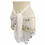 Belly Dancing Scarf White 2 Rows Beads and Coins