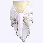 White 3 Line Belly Dancer Hip Scarf -bc