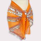 Orange Belly Dancer Hip Scarf with Beads and Coins 4 Lines