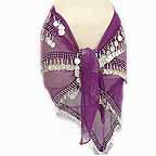 Purple Belly Dancer Hip Scarf 4 Lines Beads and Coins