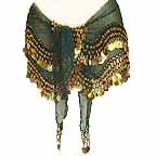 Bottle Green Belly Dancing Wave Design Hip Scarf 2 Line GOLD Coins