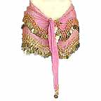 Pink Belly Dancing Wave Design Hip Scarf 2 Line GOLD Coins