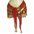 Red Belly Dancing Belt Hip Scarf 3 Line GOLD Coins