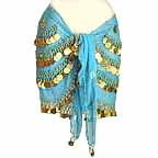 Turqoise Belly Dancing Hip Scarf 4 Circular Line GOLD Coins