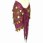 Fuschia Belly Dancing Hip Scarf with 4 Circular Line GOLD Coins