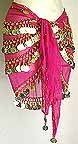 Magenta Belly Dancing Hip Scarf with 4 Circular Line GOLD Coins