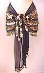 Belly Dance Black Wrap 5 Line with Beads and GOLD Coins