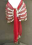 Red Belly Dance Hip Scarf 5 Line GOLD Coins with Beads