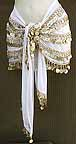 White Belly Dance Hip Scarf 5 Line Gold Coins with Beads