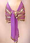 Belly Dance LILAC Wrap 5 Line with Beads and GOLD Coins