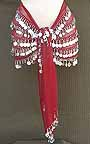 Maroon Belly Dance Hip Scarf 5 Line with Beads and Coins