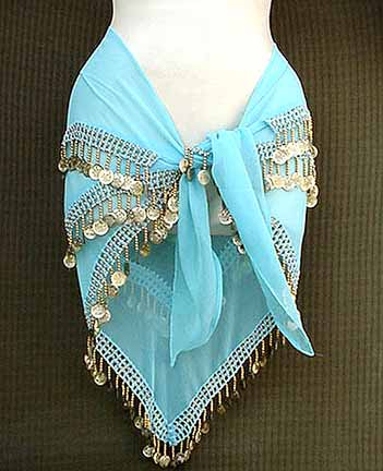 Sky Blue Belly Dance Hip Scarf 3 Rows Beads and GOLD Coins