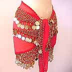 Shakira Style Red Belly Dance Wrap 3 Lines of Beads and Coins