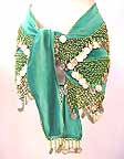 Green Shakira Velvet Hip Scarf with Beads and Coins