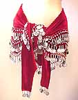 Maroon Velvet Shakira Belly Dancer Hip Scarf