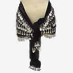 Black Belly Dance Hip Scarf 5 Line with Beads and Coins