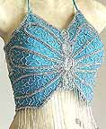 Belly Dance Choli Turqoise Sequin Top AS