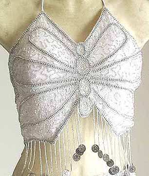 Belly Dance Choli White Sequin Top AS