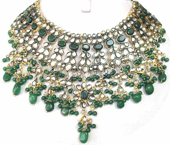 Gold Diamond Bollywood Bridal Party Jewelry Set JVS-29