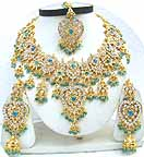 Gold Diamond Bollywood Costume Jewelry Set JVS-36