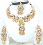 Gold Diamond Bollywood India Jewelry Set JVS-37