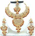 Gold Diamond Bollywood Jewelry Set JVS-41