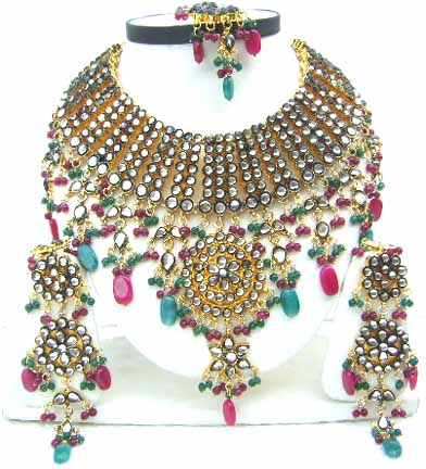 Gold Diamond Bollywood Jewelry Set JVS-49